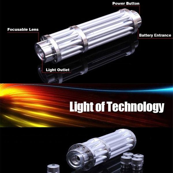 UKing ZQ-15LB 200mW 532nm Feixe Verde Zoomable 5-em-1 Laser Pointer Pen Kit Silver