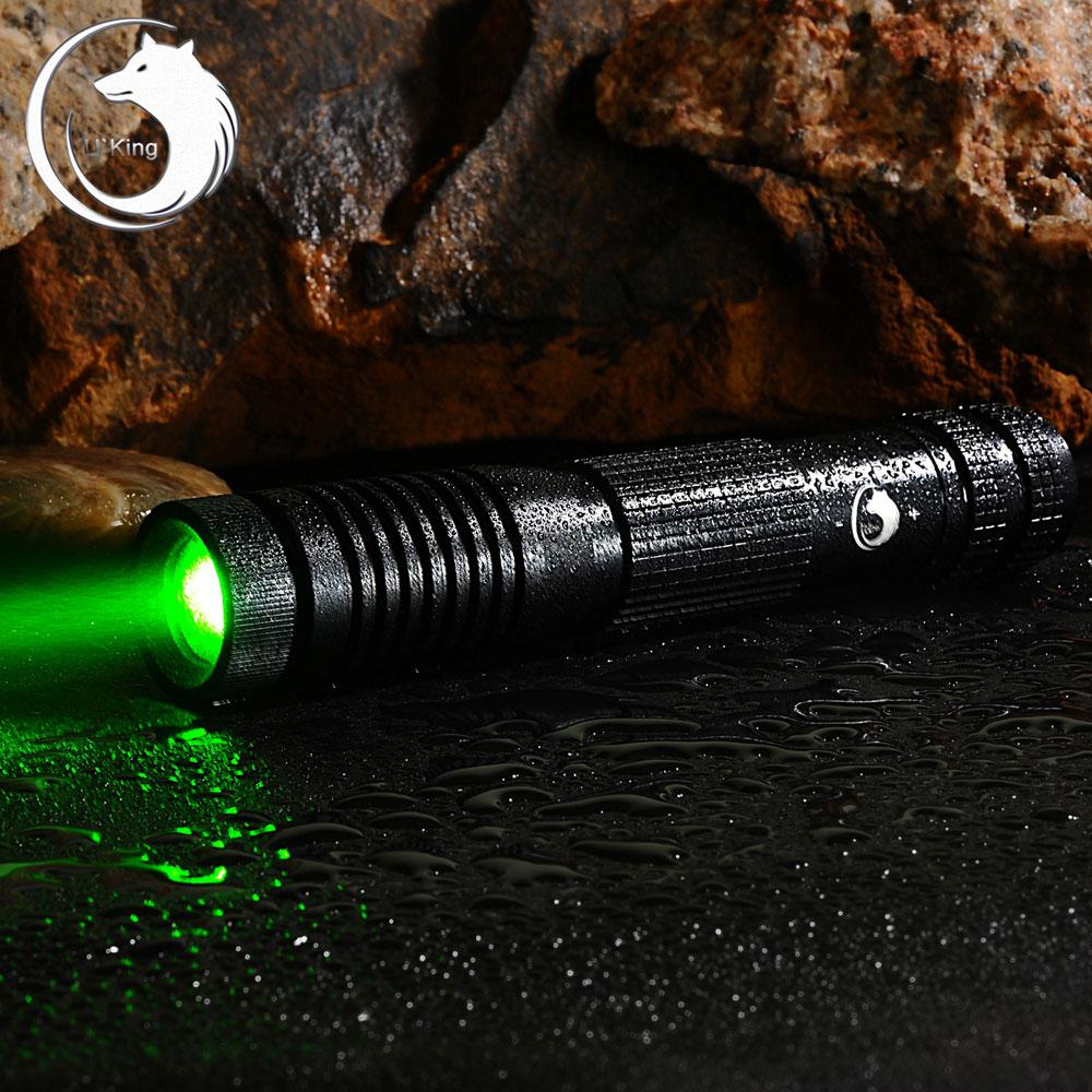 U'King ZQ-012L 200mW 532nm Green Beam 4-Mode Zoomable Laser Pointer Pen Kit Black