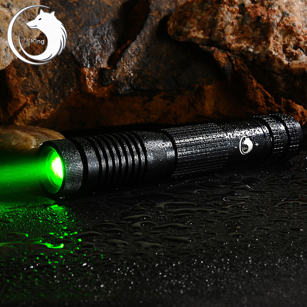 UKing ZQ-012L 200mW 532nm Green Beam 4-Mode Zoomable Laser Pointer Pen Black