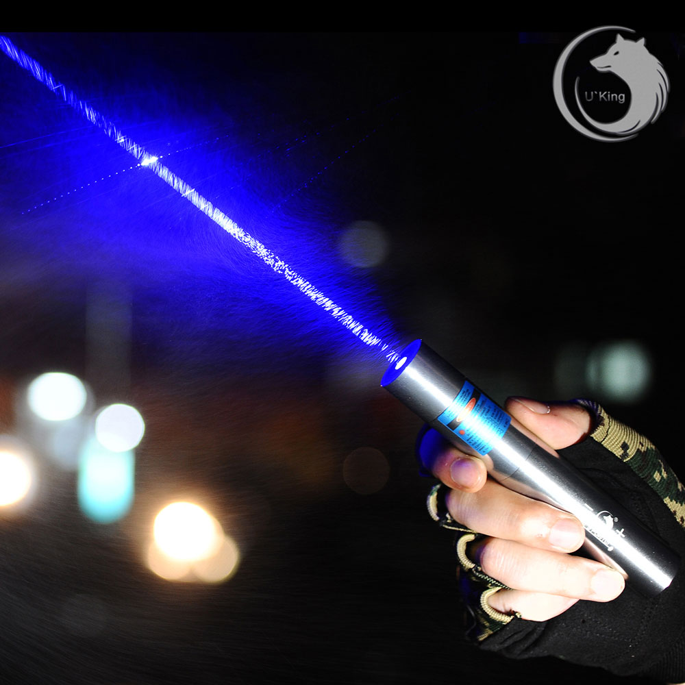 Pointer Pen Uking ZQ-J11 4000mW 473nm Blue Beam Ponto Único Zoomable Laser Kit Cromagem Concha de Prata