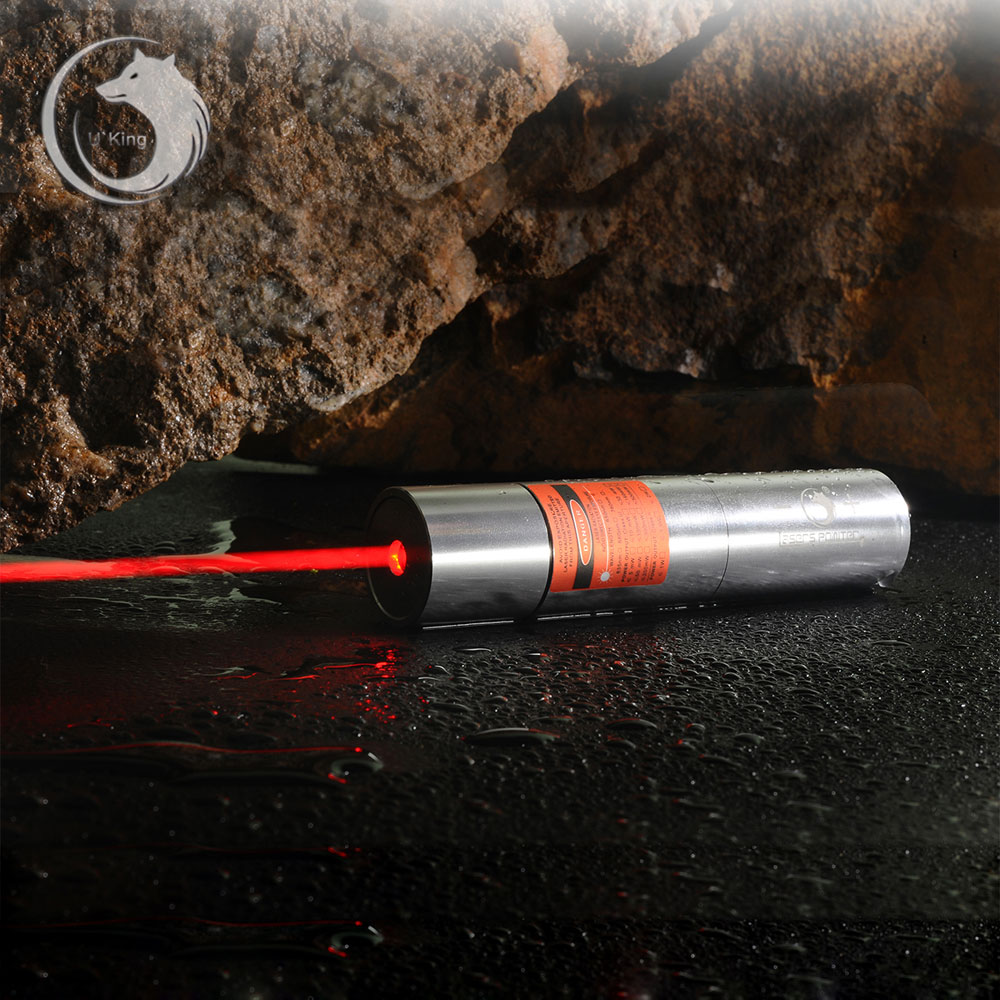 UKing ZQ-j12 1000mW 638nm Pure Red Beam Single Point Zoomable Laser Pointer Pen Kit Titanium Silver