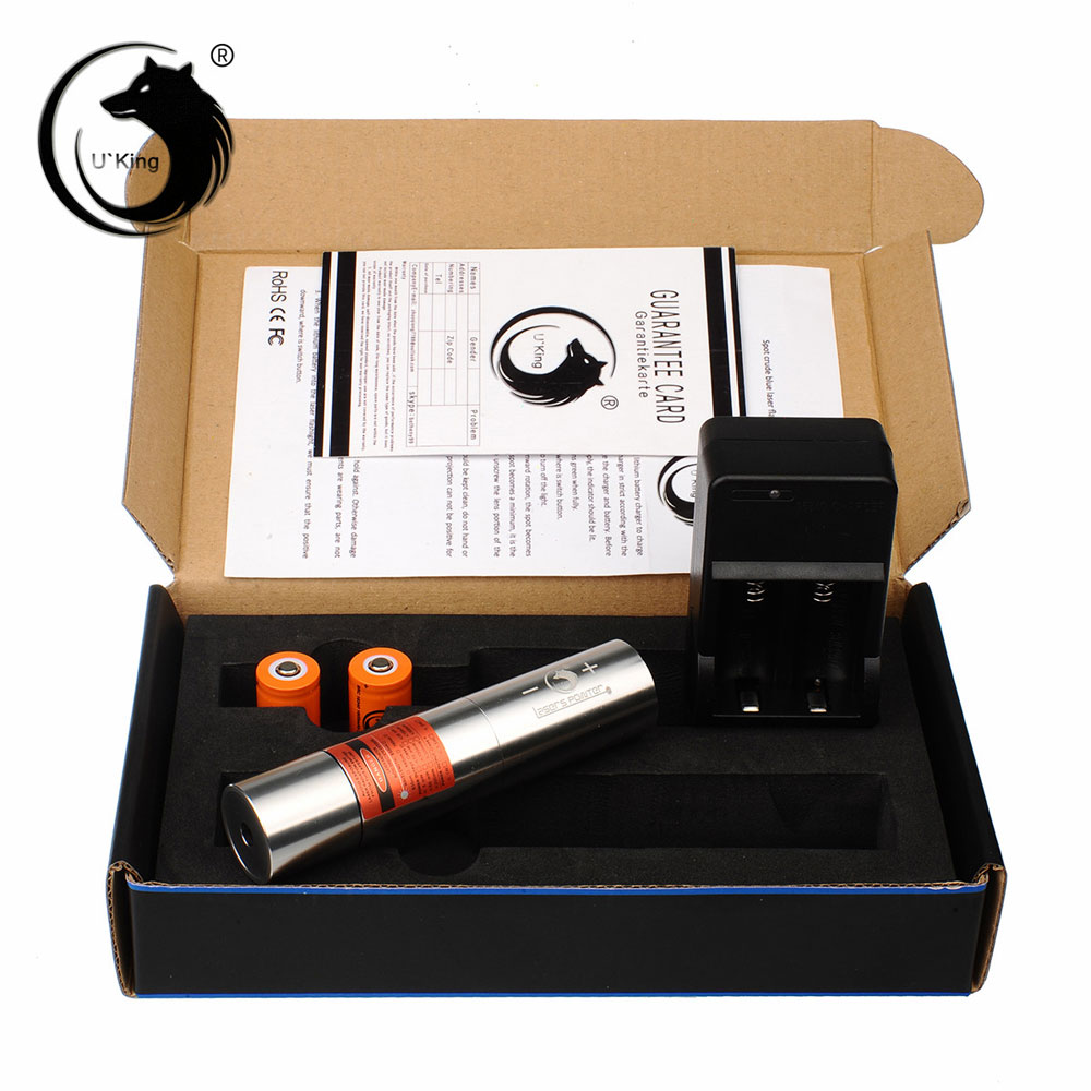 UKing ZQ-j12 2000 mW 638nm Pure Red Feixe Único Ponto Zoomable Caneta Laser Pointer Kit Titanium Prata