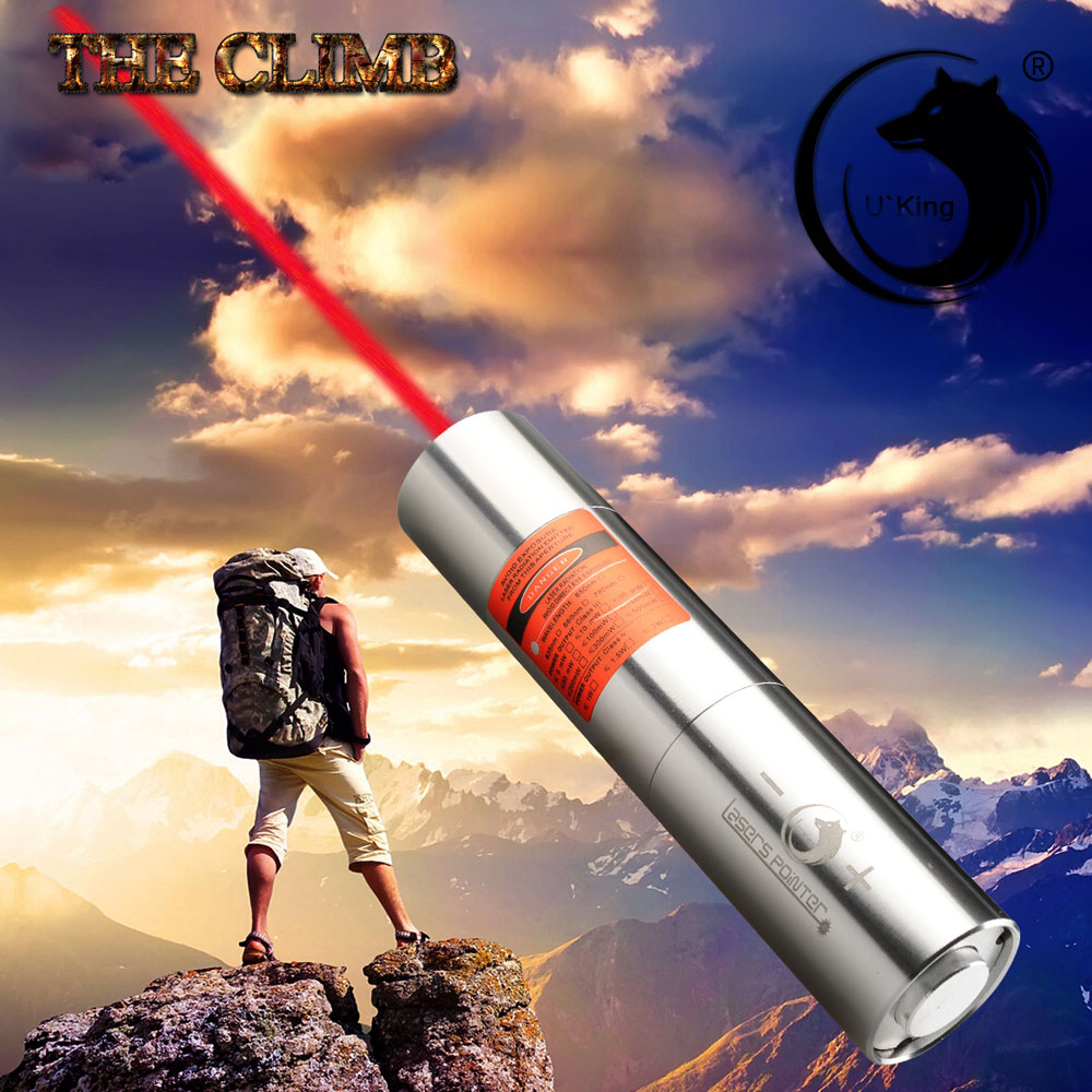UKing ZQ-j12 2000mW 638nm Pure Red Beam Punto único Zoomable Laser Pointer Pen Kit Titanium Silver