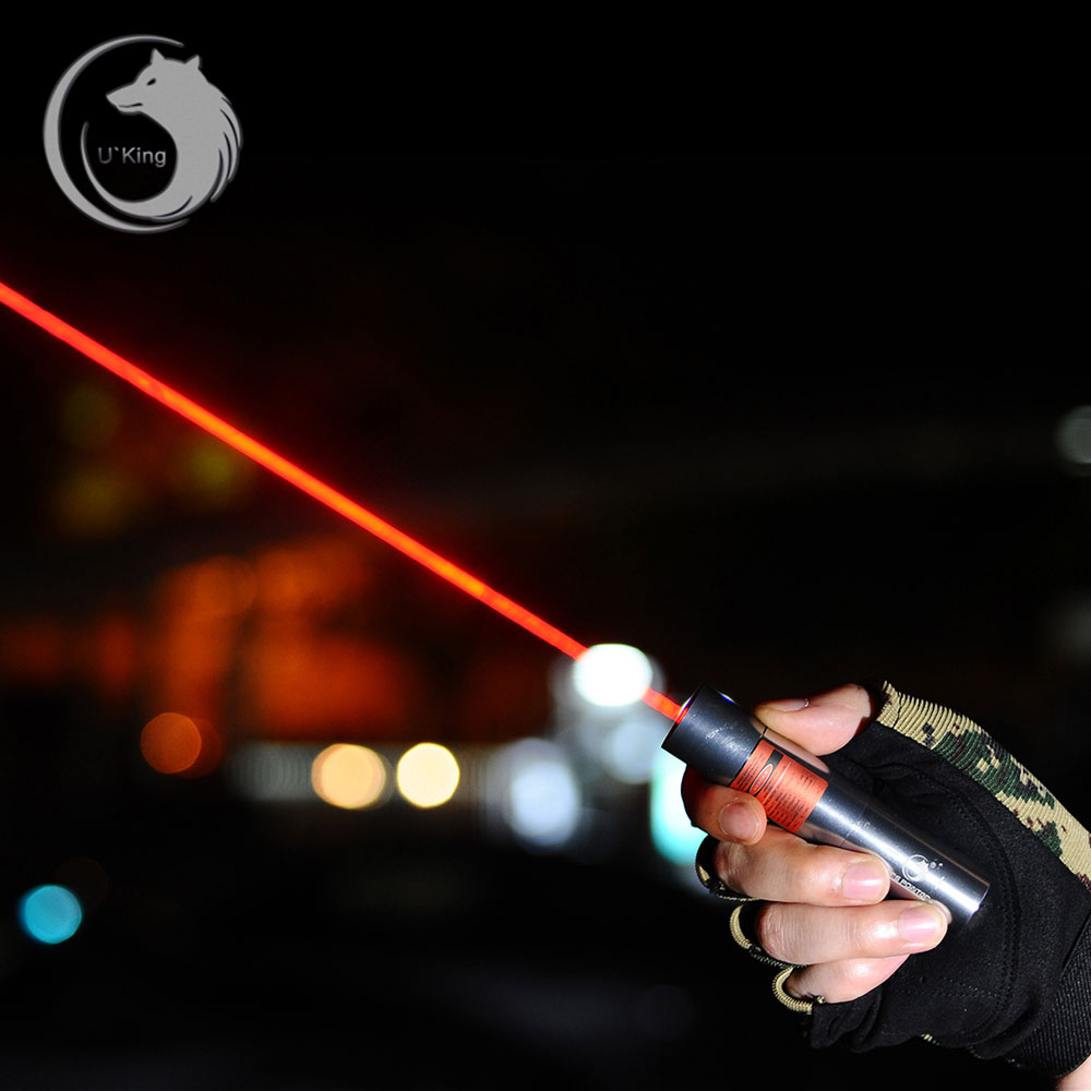 UKING ZQ-J12 7000mW 638nm Pure Red Beam Single Point Zoomable Penna puntatore laser Kit Titanium Silver
