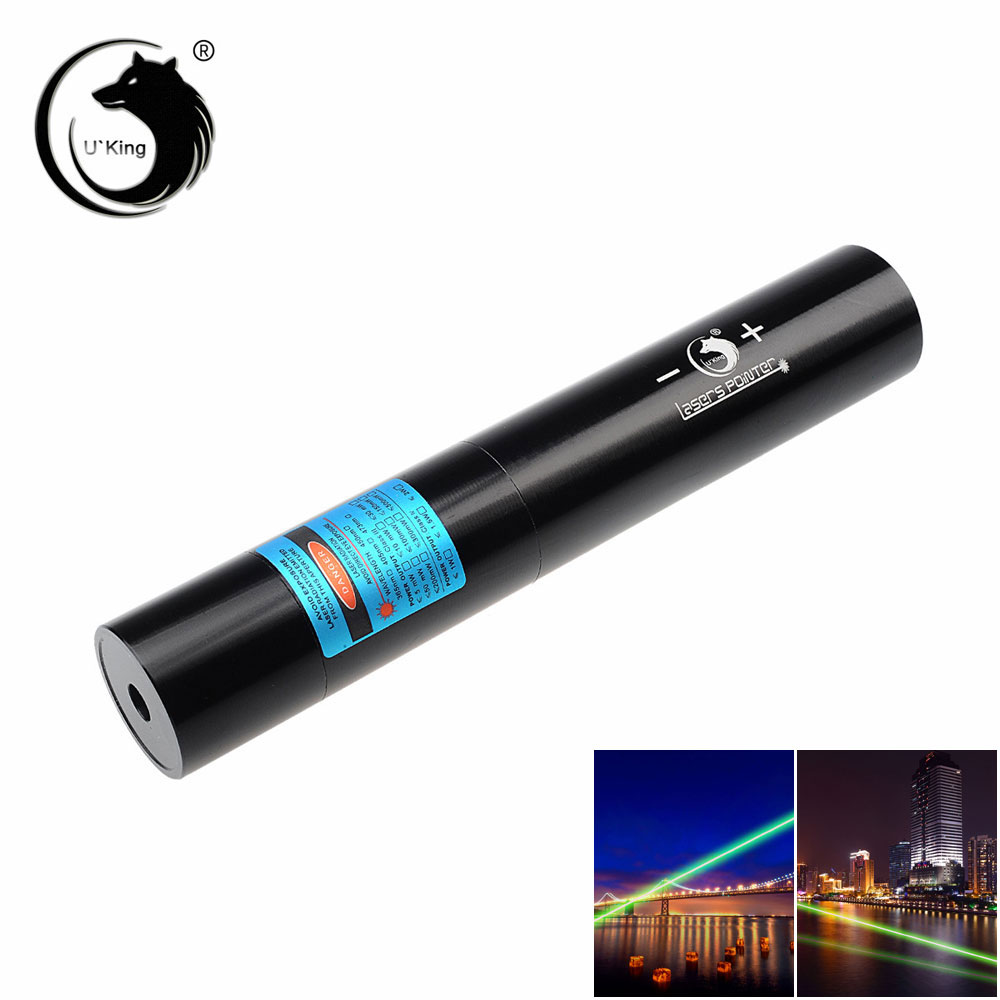 U'King ZQ-j10L 200mW 520nm Pure Green Beam Single Point Zoomable Laser Pointer Pen Kit Black