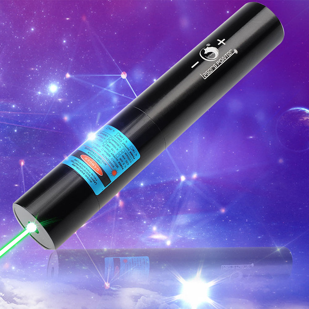 U'King ZQ-j10L 500mW 520nm Pure Green Beam Single Point Zoomable Laser Pointer Pen Kit Black