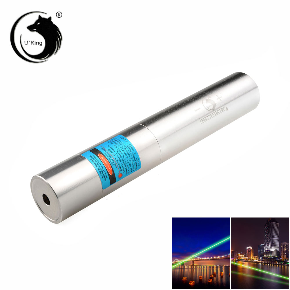 U'King ZQ-j10L 200mW 520nm Pure Green Beam Single Point Zoomable Laser Pointer Pen Kit Chrome Plating Shell Silver