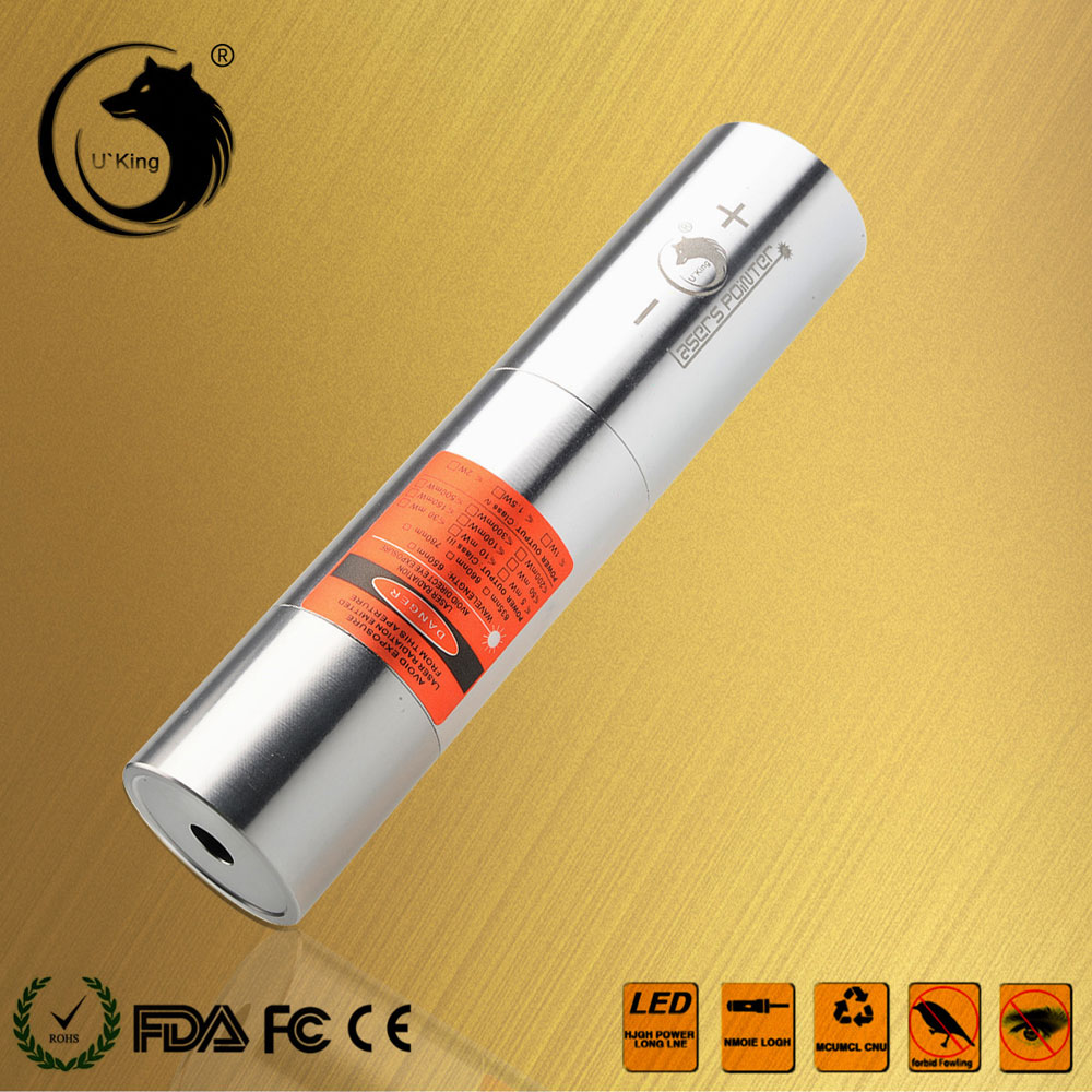 U'King ZQ-j12L 200mW 520nm Pure Green Beam Single Point Zoomable Laser Pointer Pen Kit Titanium Silver