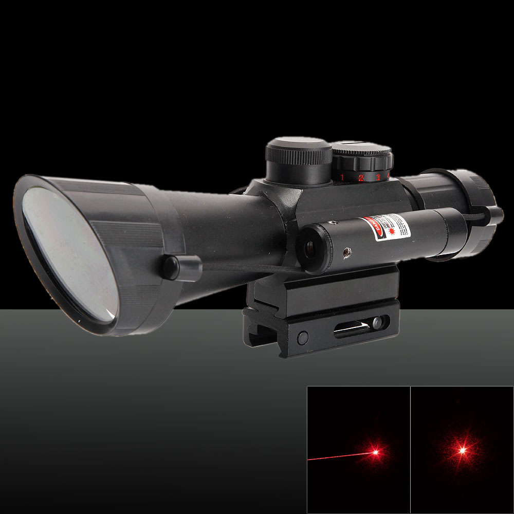 M7 625-600nm 5mW Red Beam 4X Magnification Rifle Scope with Laser Sight Black