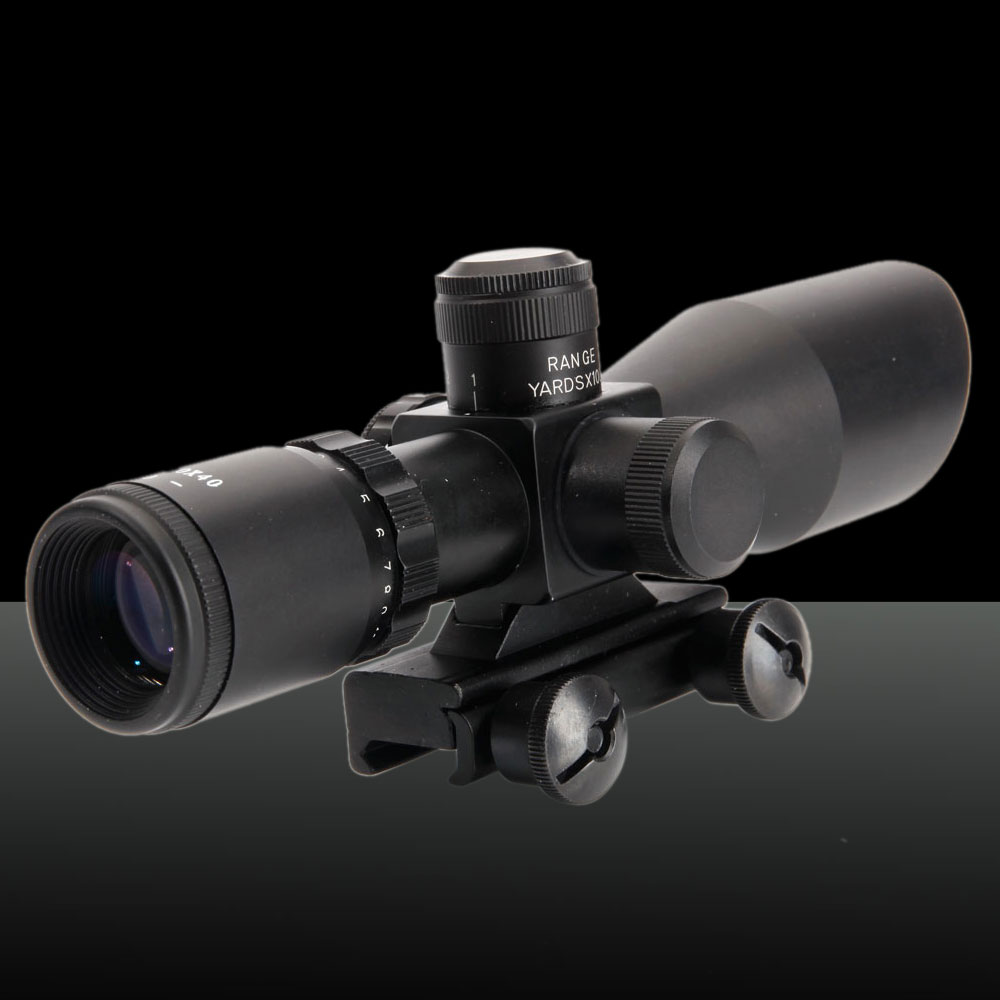 GT-2.5-10x40E 2.5-10 Times 5mW Battery-operated Rifle Scope with Laser Sight Black