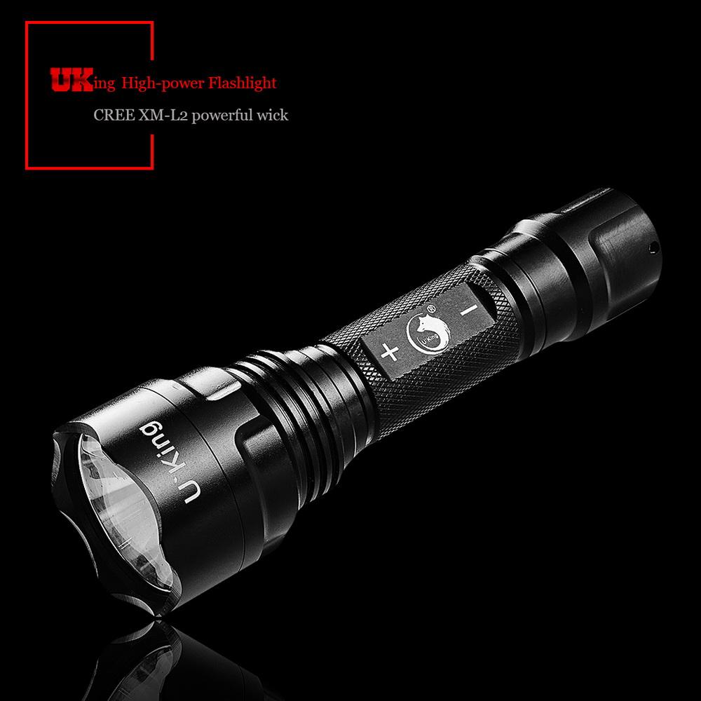 UKing ZQ-ZJTc8 XM-L2 5000LM 3 Modes Waterproof Portable Flashlight Black