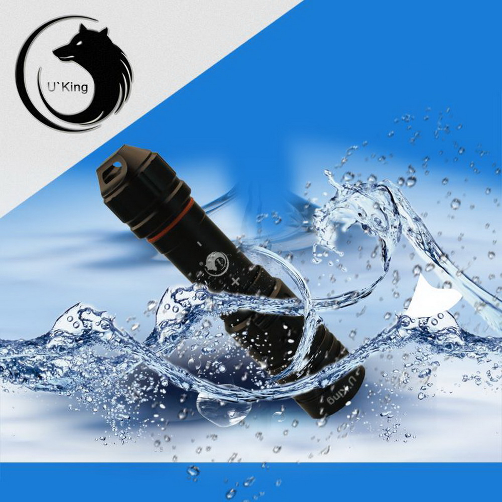 U'King ZQ-WXK9 XM-L2 5000lm 80m Diving Stepless Dimming Strong Light Mini Portable LED Flashlight Black