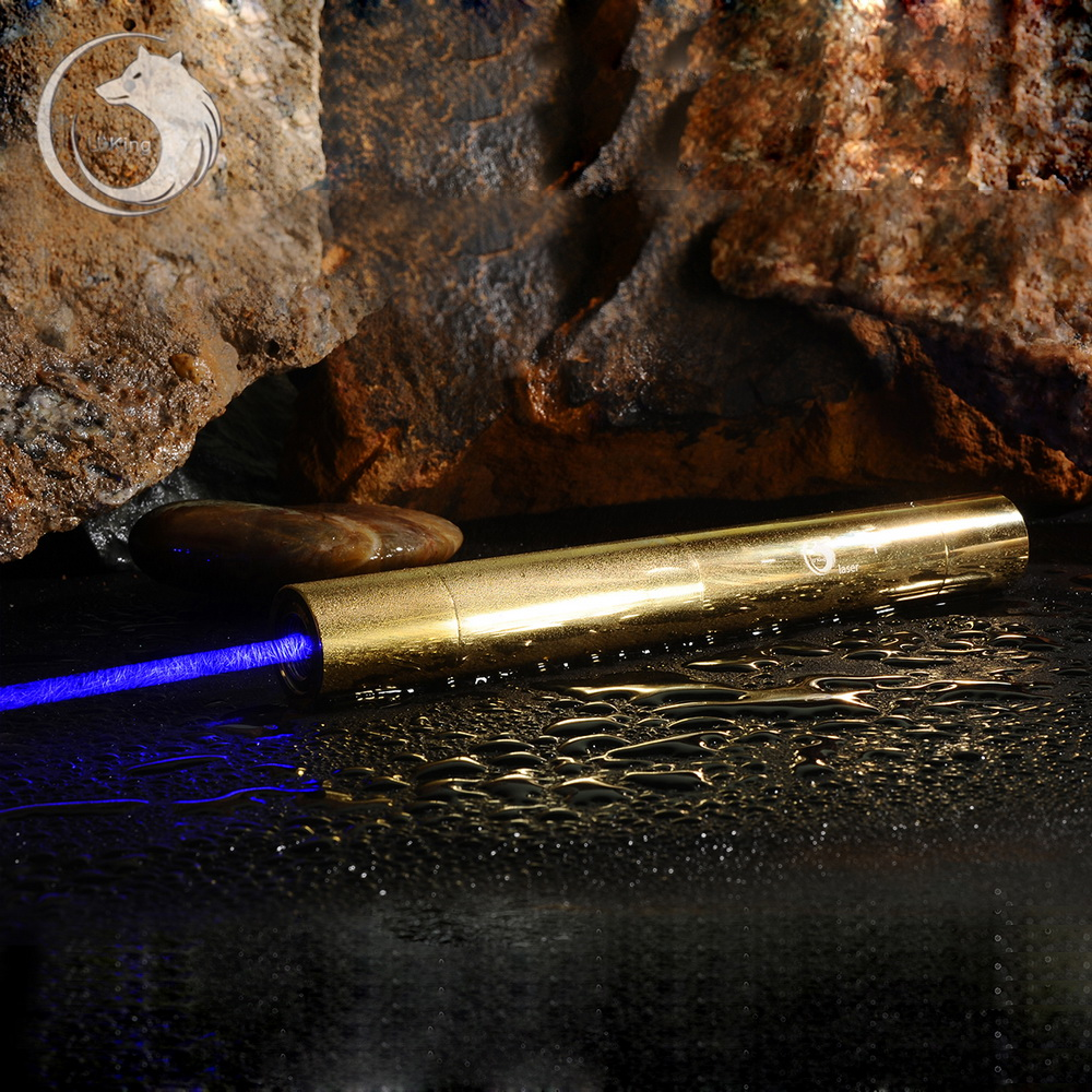 UKing ZQ-15B 10000mW 445nm Blue Beam 5-in-1 Zoomable High Power Laser Pointer Pen Kit Golden