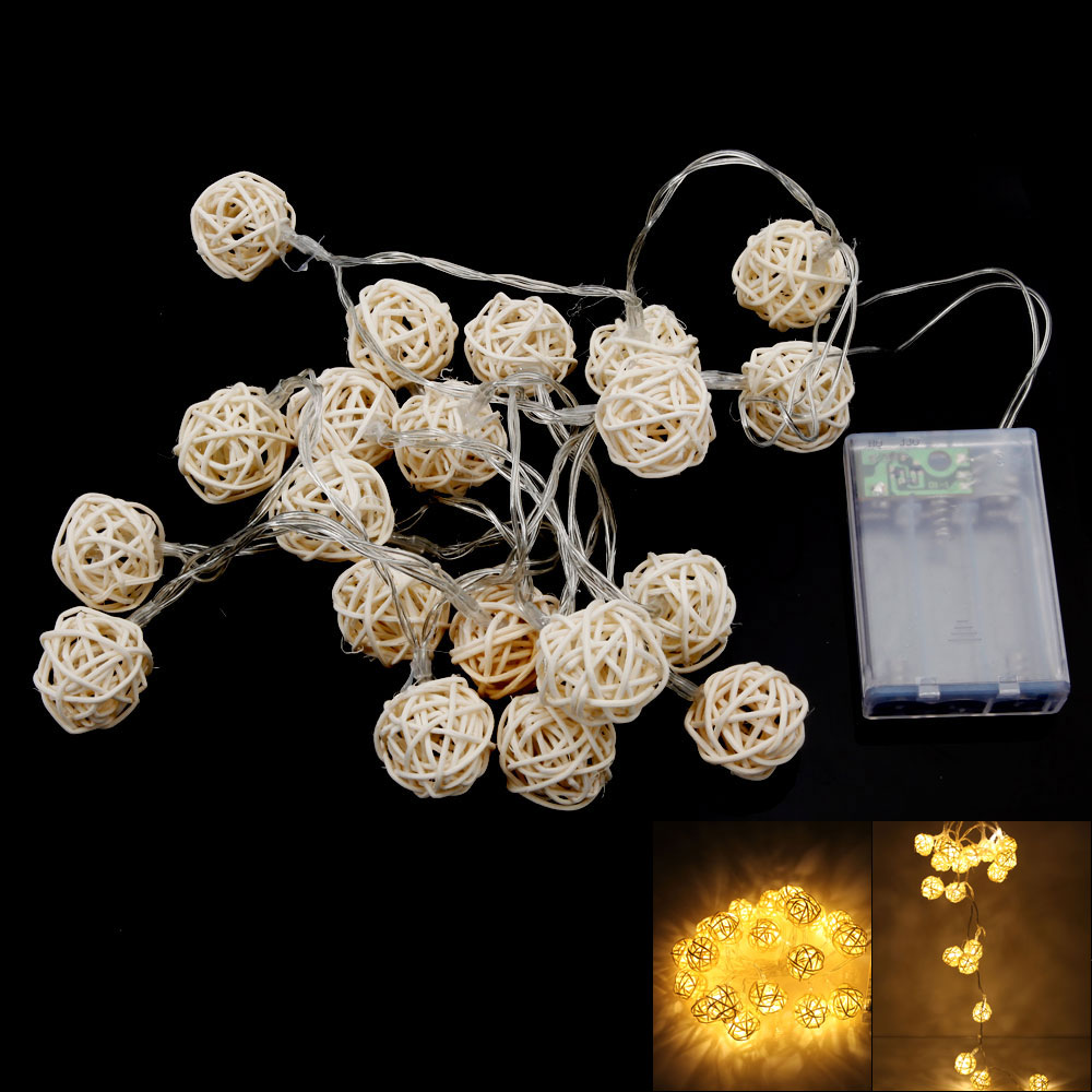 2.2M 4.5V 20-LED Battery-operated 2 Working Modes Warm White Light Sepa Takraw Shaped LED String Light Beige
