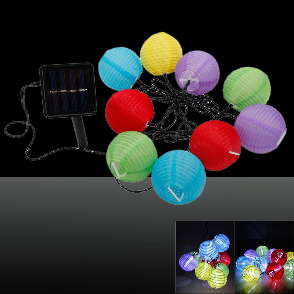 1.8M 2V 10-LED 2 Modes Colorful Lantern White Light LED String Light Black