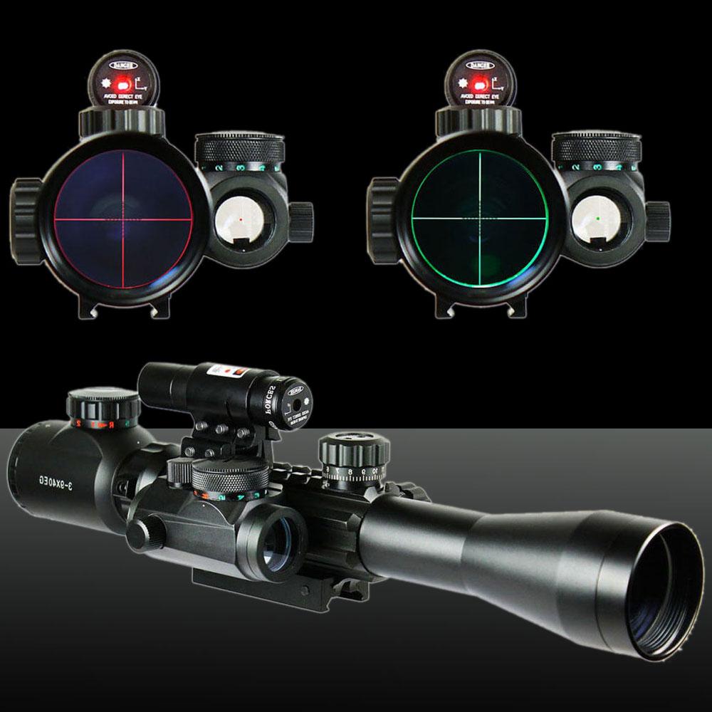 UKing ZQ-MZ05 3-9X40EG Fishbone + Red Laser Red Dot Holographic Laser Sight Kit Black