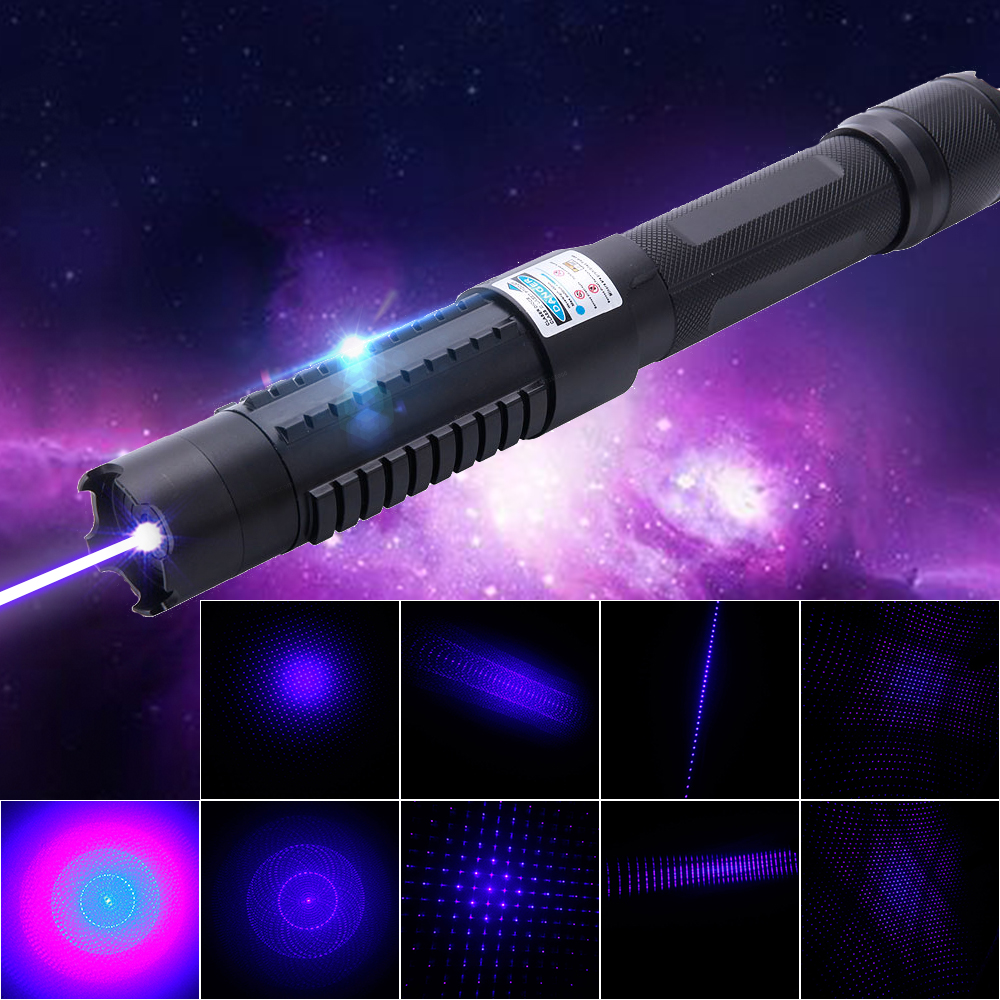 10000mW 450nm 5-in-1 Blue Beam Light Laser Pointer Pen Kit Black