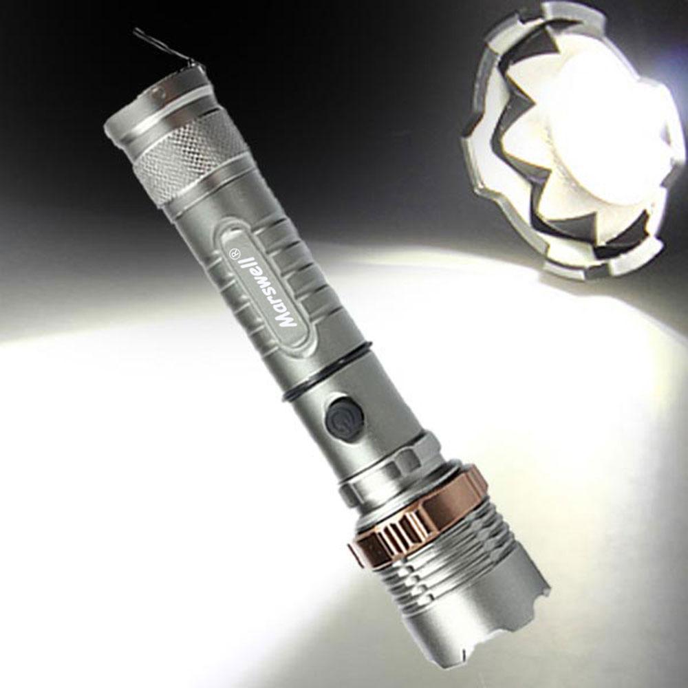 2000lm 3-Mode Waterproof Lotus Head LED Flashlight Suit UK Plug Gray