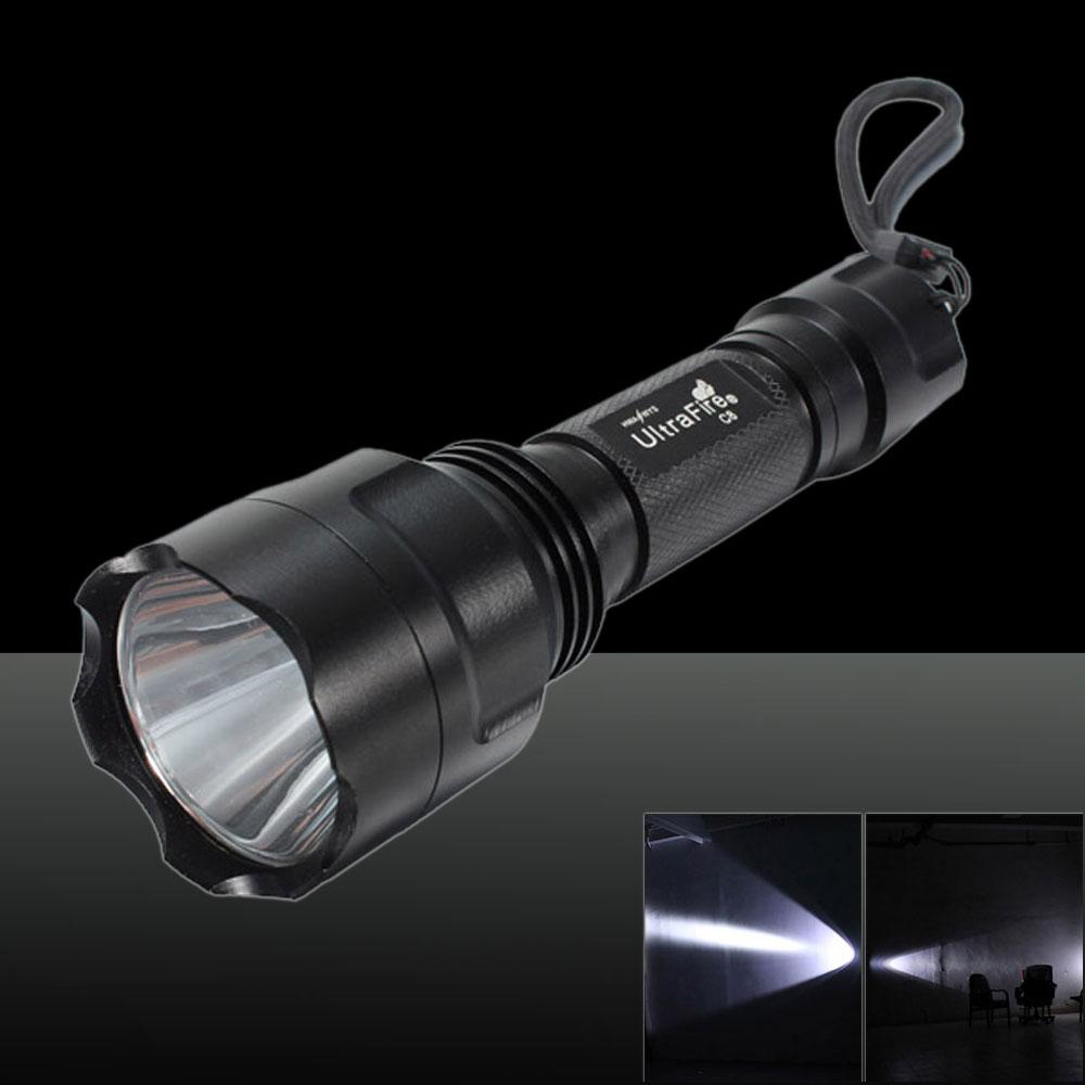 LT-C8 XM-L 1*T6 2000LM White Light 5-Mode Flashlight UK Plug Black