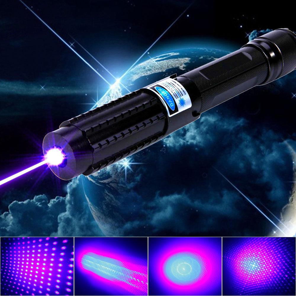30000mW 450nm Blue Beam Light 5-in-1 Laser Pointer Pen Kit Black