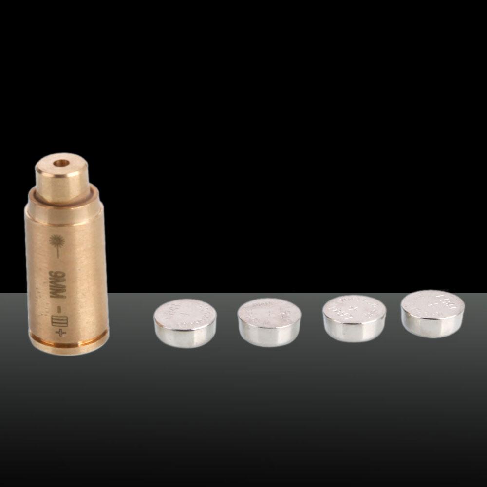 650nm Cartridge Red Laser Bore Sighter Laser Pen 3 x LR41 Batteries Cal: 9MM Brass Color