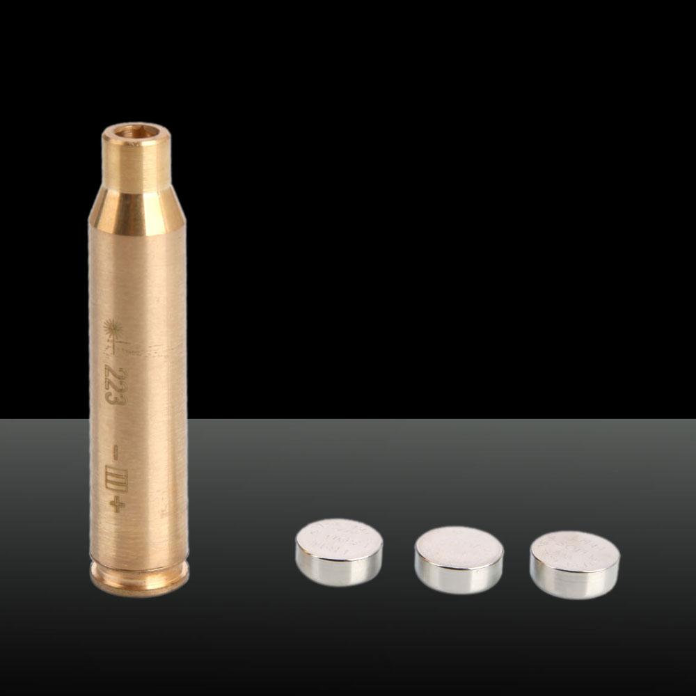 650nm Cartridge Red Laser Bore Sighter Laser Pen 3 x LR41 Batteries Cal: 223REM Brass Color