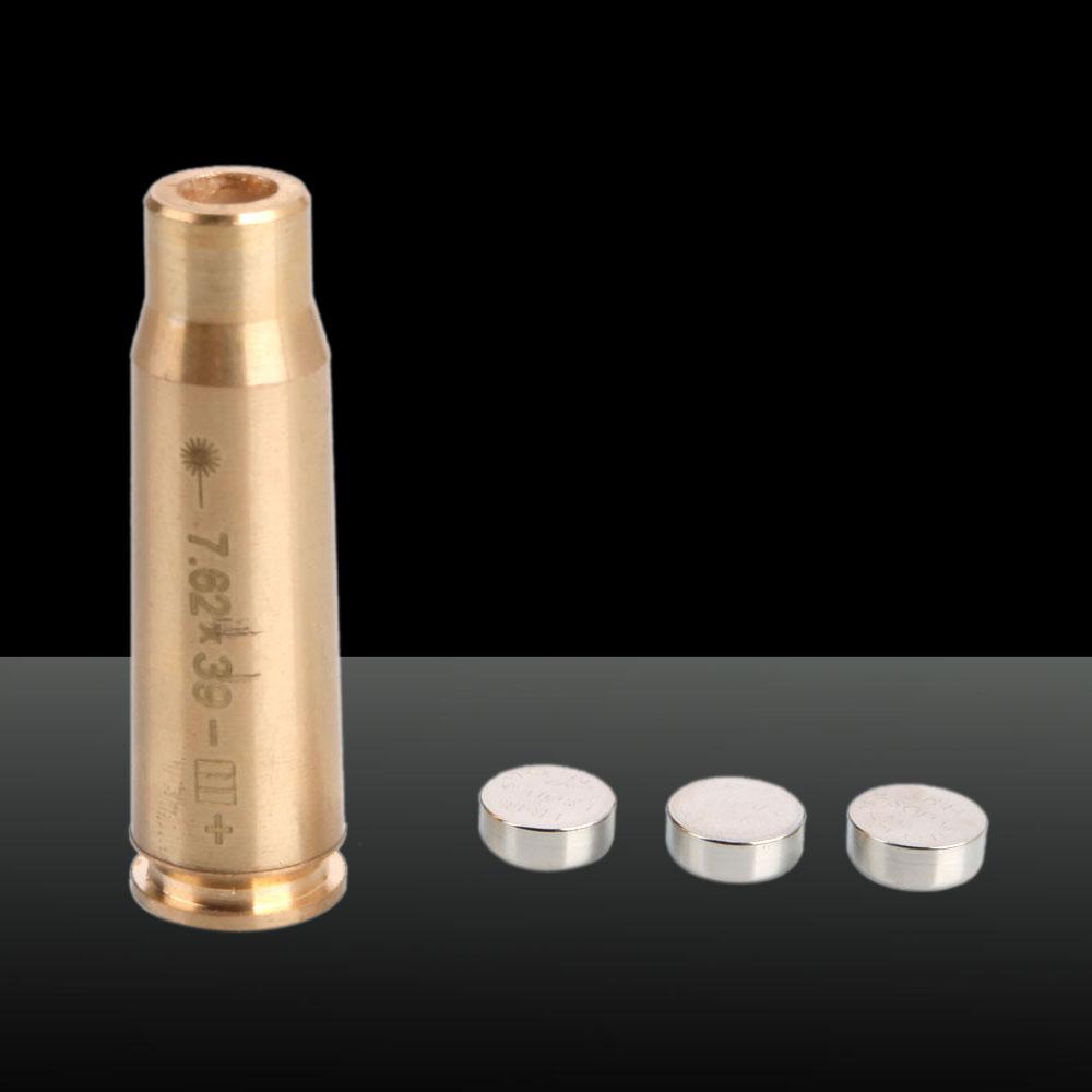 650nm Cartridge Red Laser Bore Sighter Laser Pen 3 x LR41 Batteries Cal: 7.62*39 Brass Color