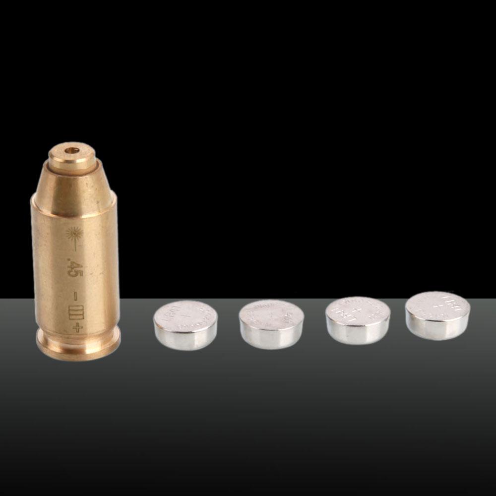 650nm Bullet Shape Laser Pen Red Light 3 x L936 Batteries Cal: 45 Brass Color