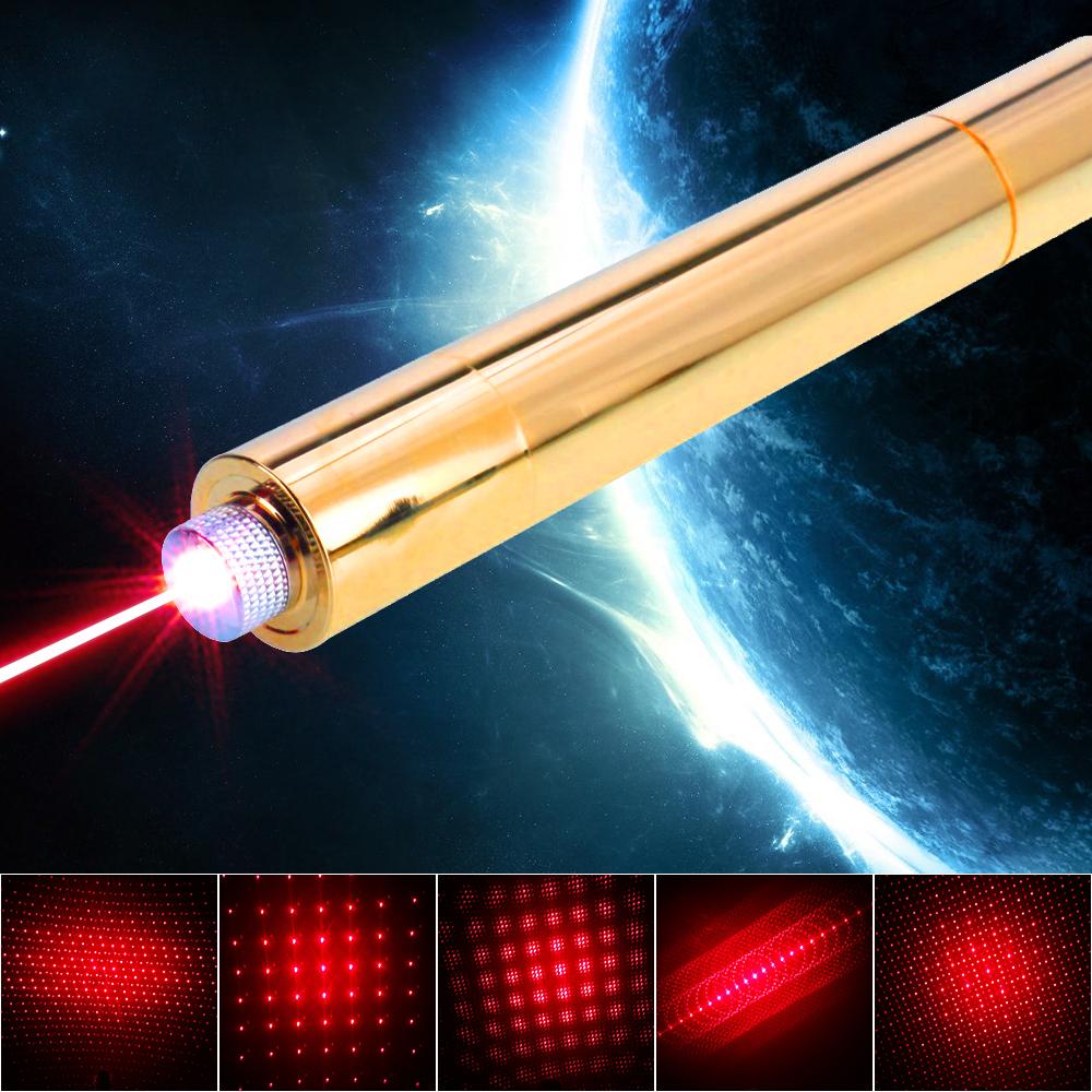 10000mW 650nm Beam Light Red Superhigh Power Laser Pointer Pen Kit Golden