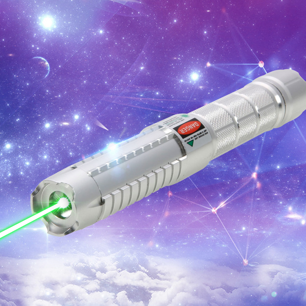 10000mW High Power Attacked Head Green Light Laser Pointer Suit Silver