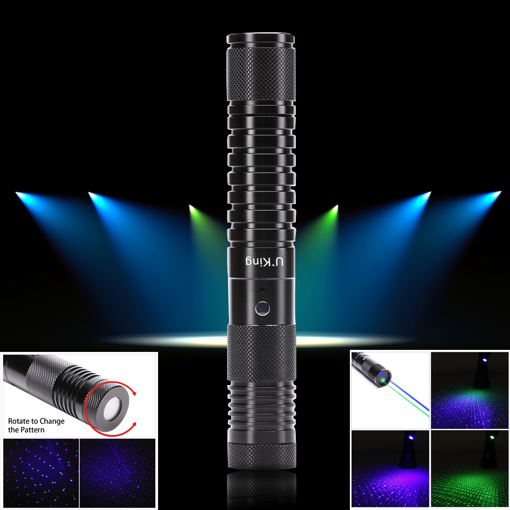UKing ZQ-J33 400mw 532nm & 450nm double light 5 in 1 USB Laser Pointer