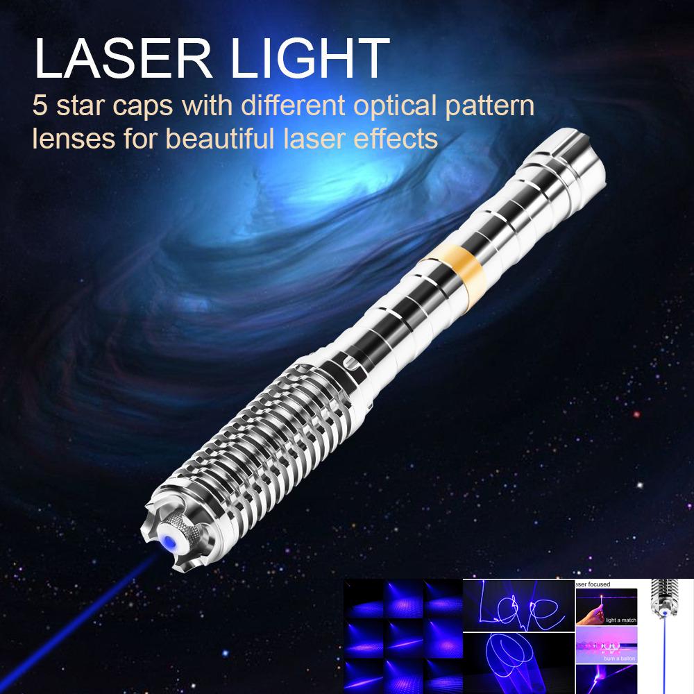UKing ZQ-J37-T1 10000mw 450nm 5 em 1 ponteiro laser USB de dois modelos