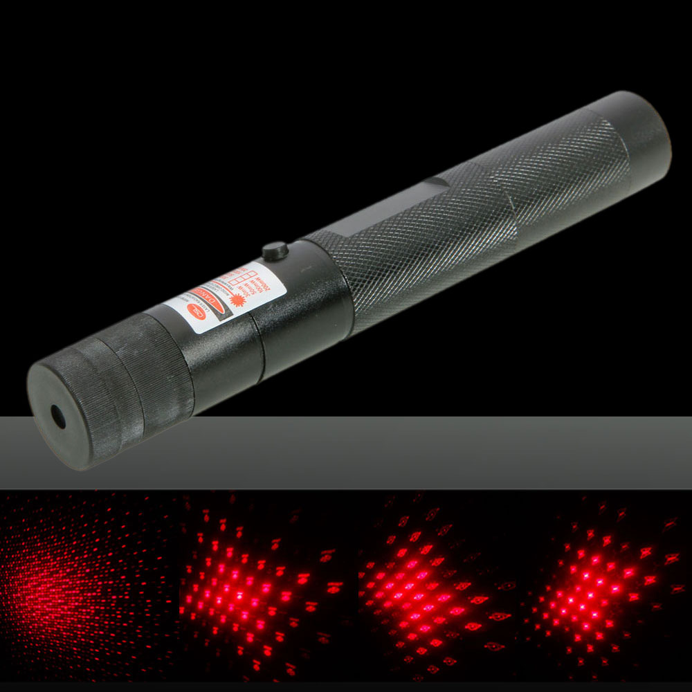 100MW Professional Red Light Laser Pointer with 5 Heads & Box Black (301)