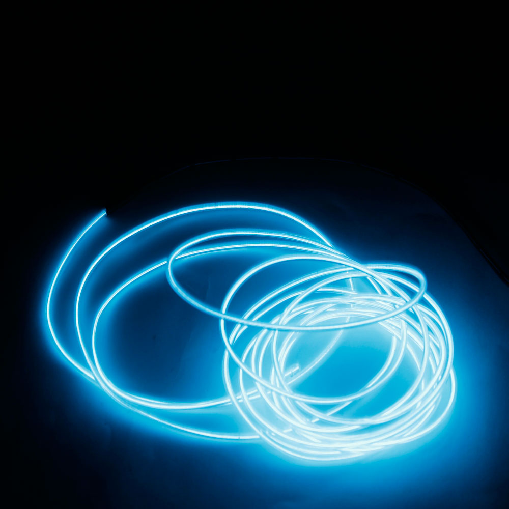 DY LED Flexible Lamp 3m 2-3mm Steel Wire Rope LED Strip with Controller Transparent Blue