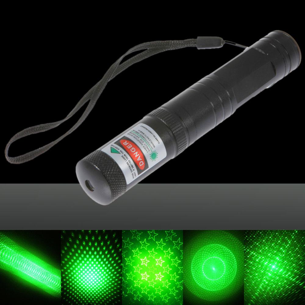 30mW Dot Pattern / Starry Pattern / Multi-Patterns Focus Green Light Laser Pointer Pen Silver
