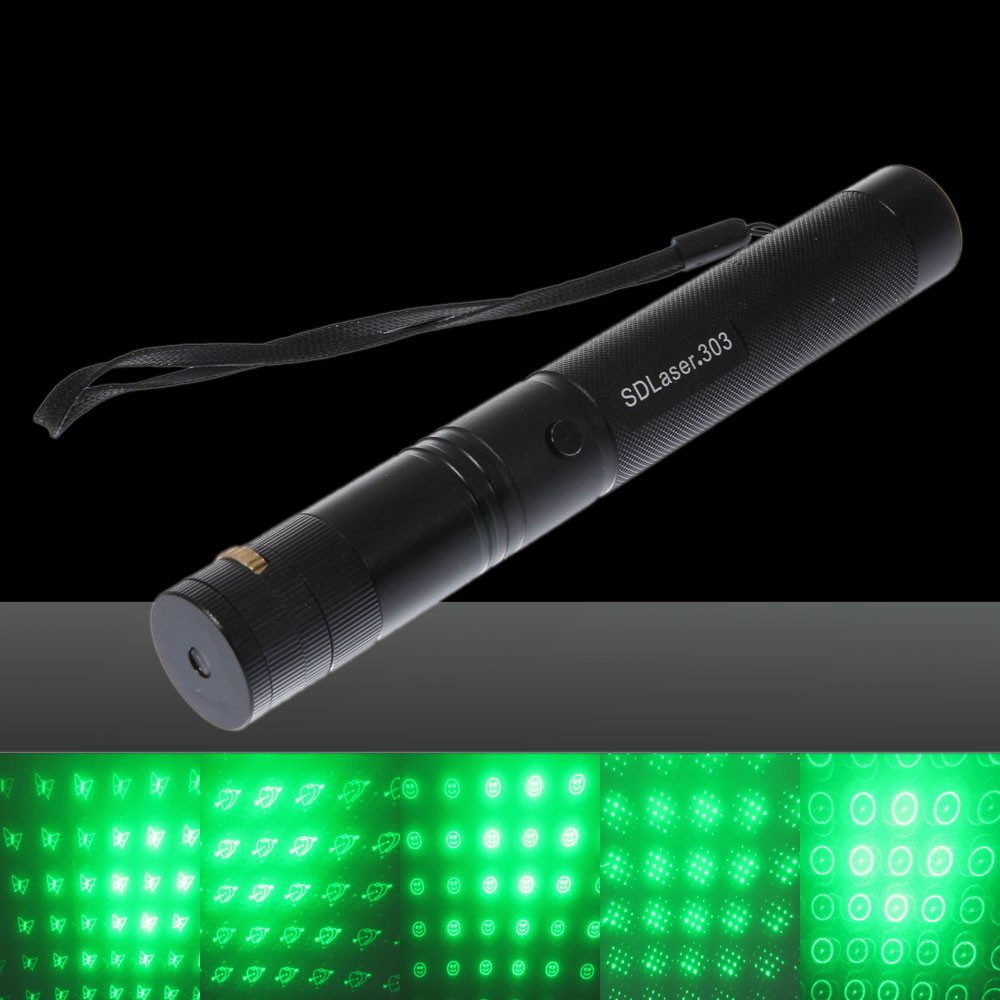30mw 6-in-1 Focus Green Light Laser Pointer Pen with 18650 Rechargeable Battery Black