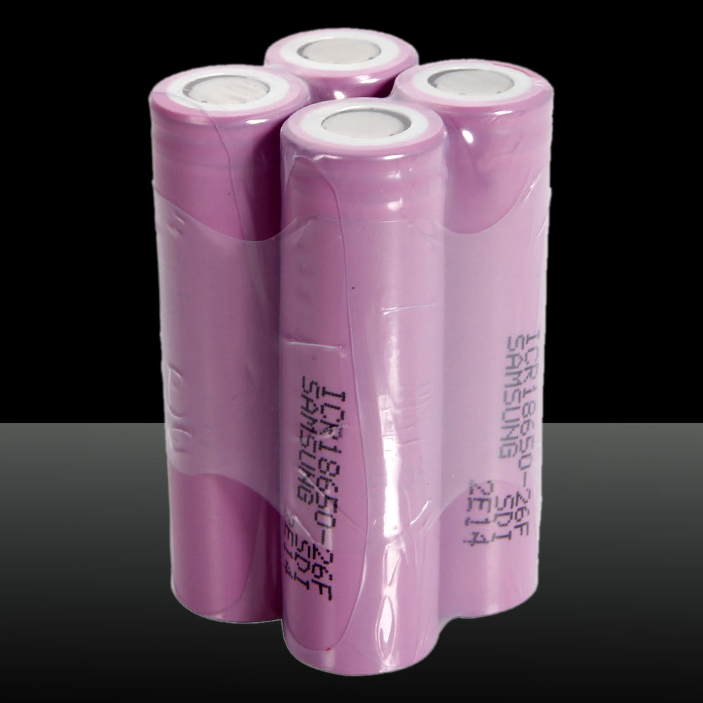 4pcs Samsung 18650 3.7V 2600mAh High Capacity Flat Head Rechargeable Lithium Batteries Purple