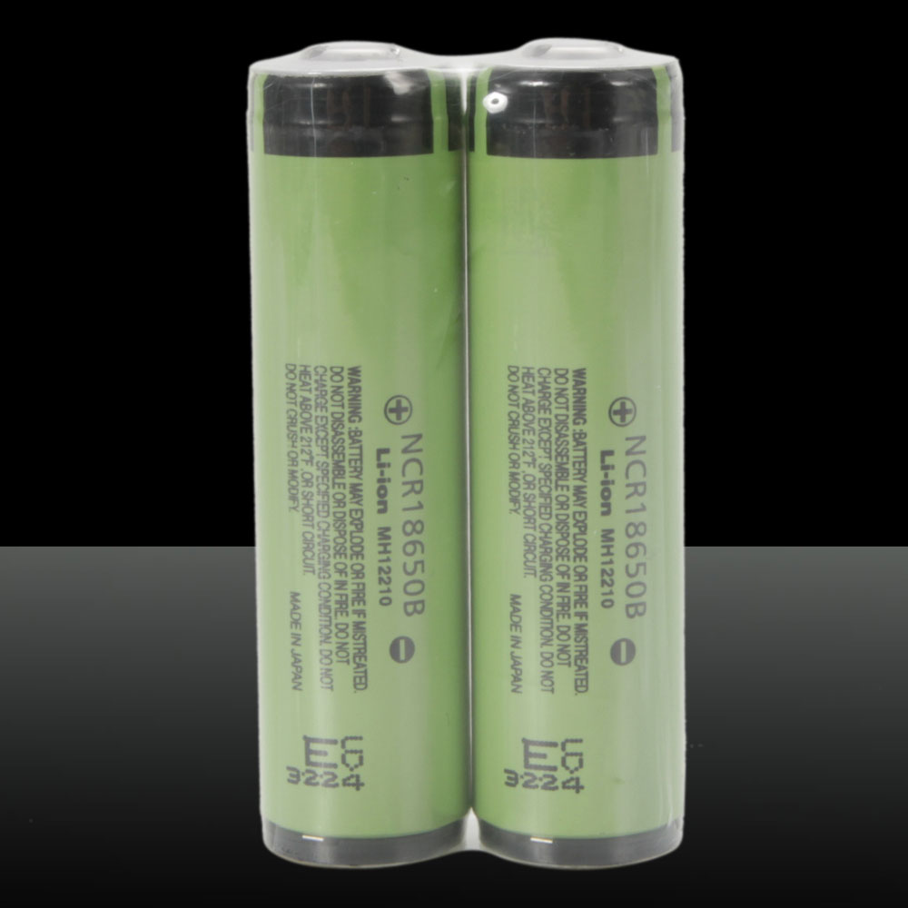 2pcs Panasonic 18650 3.7V 3400mAh Rechargeable Lithium Batteries with Protective Plate Green
