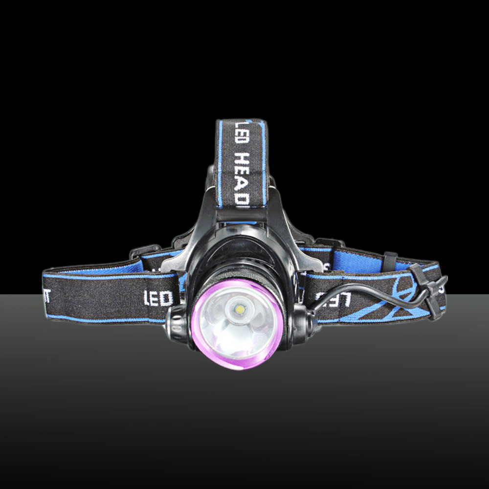 LT 2000Lm XM-L XML T6 LED Aluminum 1-bulb 3 Modes Waterproof Single Headlamp (2*18650) Purple & Black