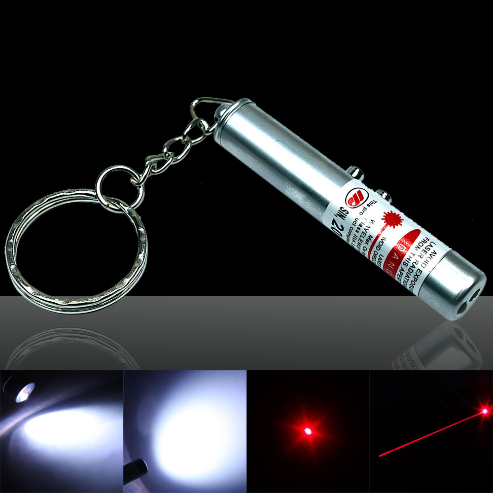2 in 1 5mW 650nm Red Laser Pointer Pen Silver Surface (Red Lasers + LED Flashlight)