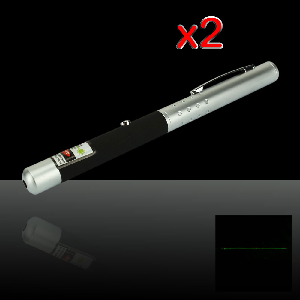 2Pcs 200mW 532nm Half-steel Green Laser Pointer Pen with 2AAA Battery