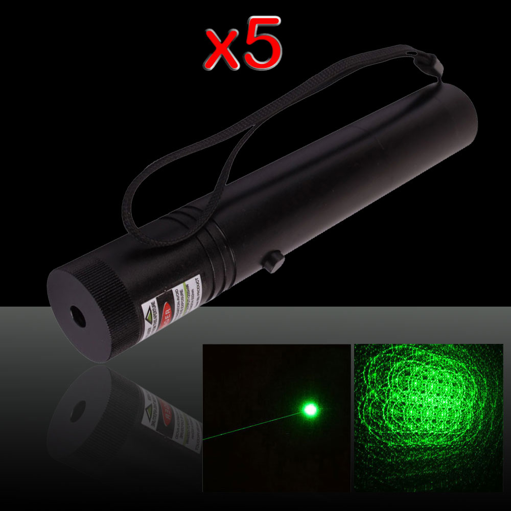 5Pcs 250mW 532nm Flashlight Style 302 Type Green Laser Pointer Pen with 18650 Battery