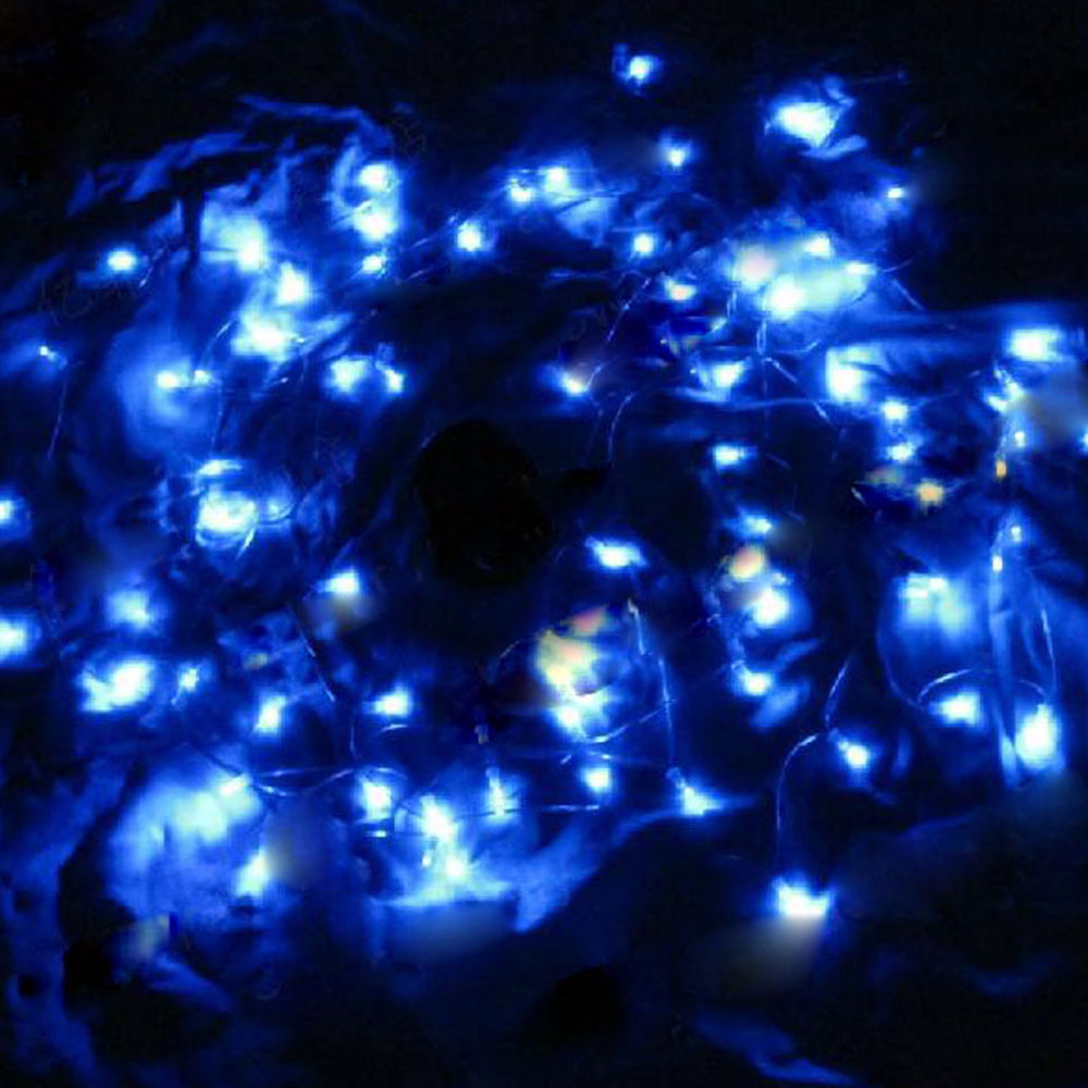 12M 100 LED Blue Light Solar String Lamp Festival Decoration