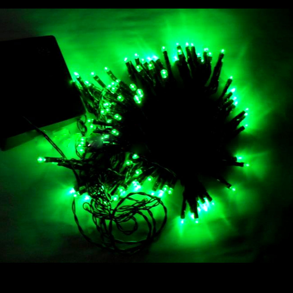 12M 100 LED Green Light Solar String Lamp Festival Decoration