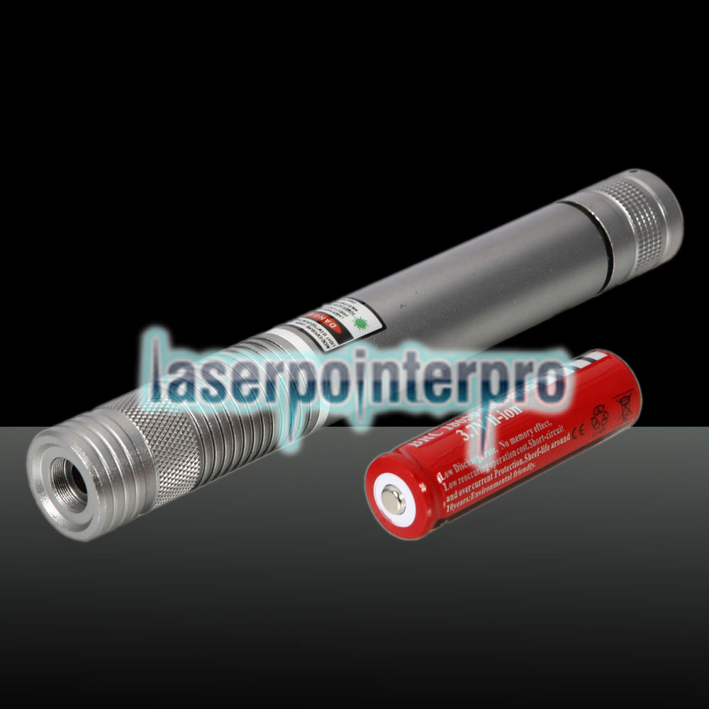 300MW Beam Green Laser Pointer (1 x 4000mAh) Silver
