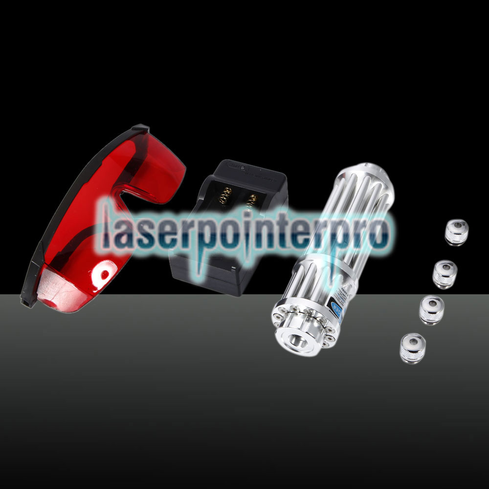 5000mW 450nm Beam Light Blue 12-Säulen-Laserpointer-Kit Silber