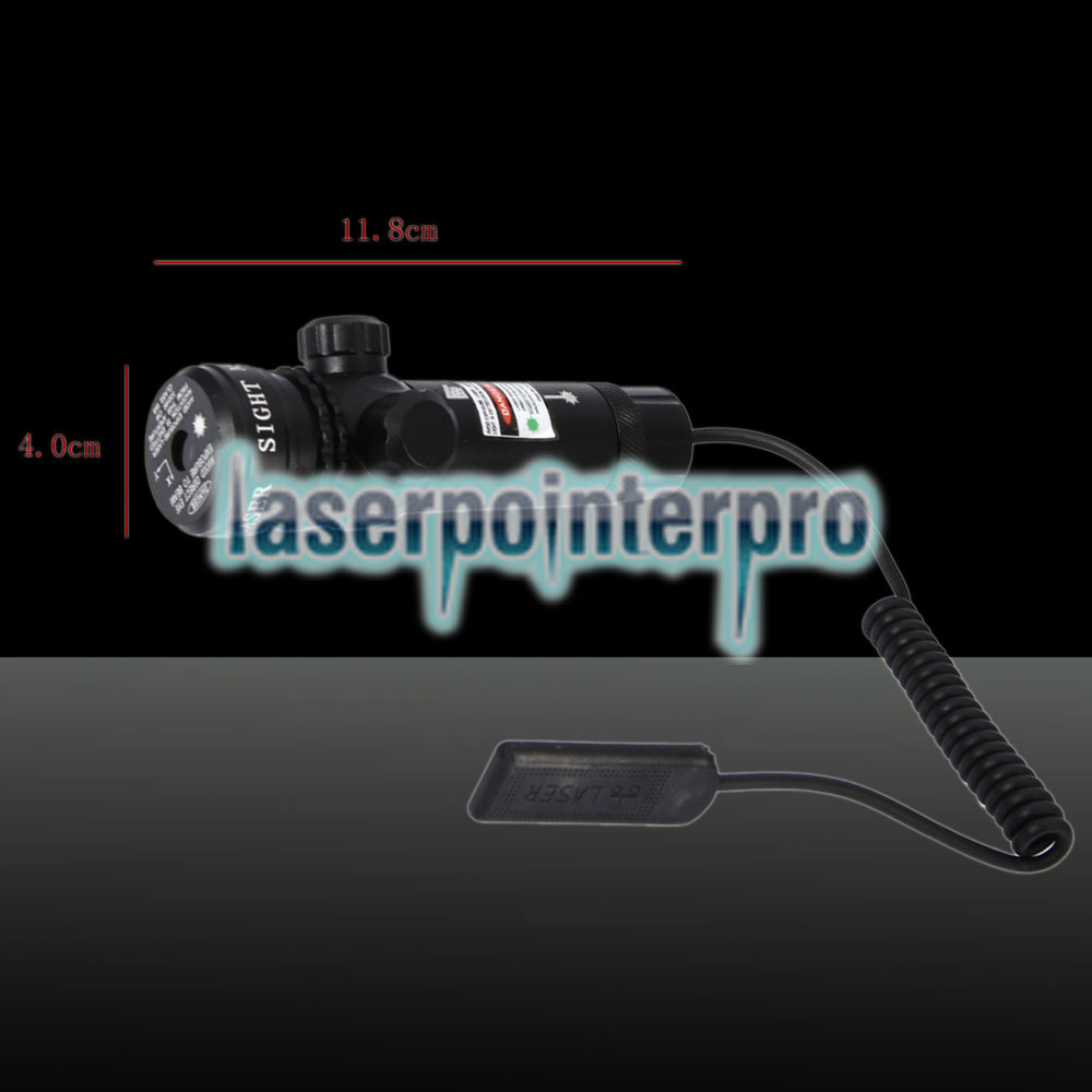 250mW Feixe Verde Light Flat Head Laser Gun Sighter Preto