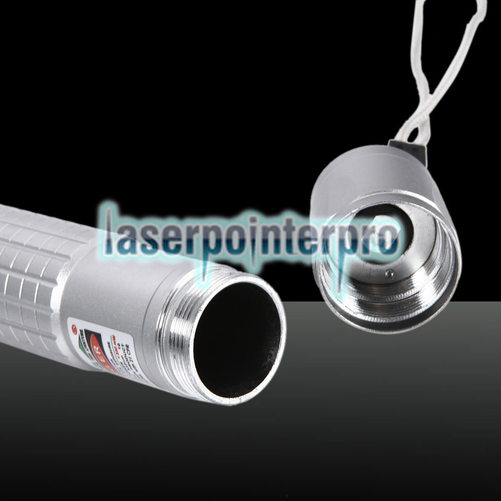 100mW 532nm Green Beam Light Puntero láser Pluma Gris Plata 853