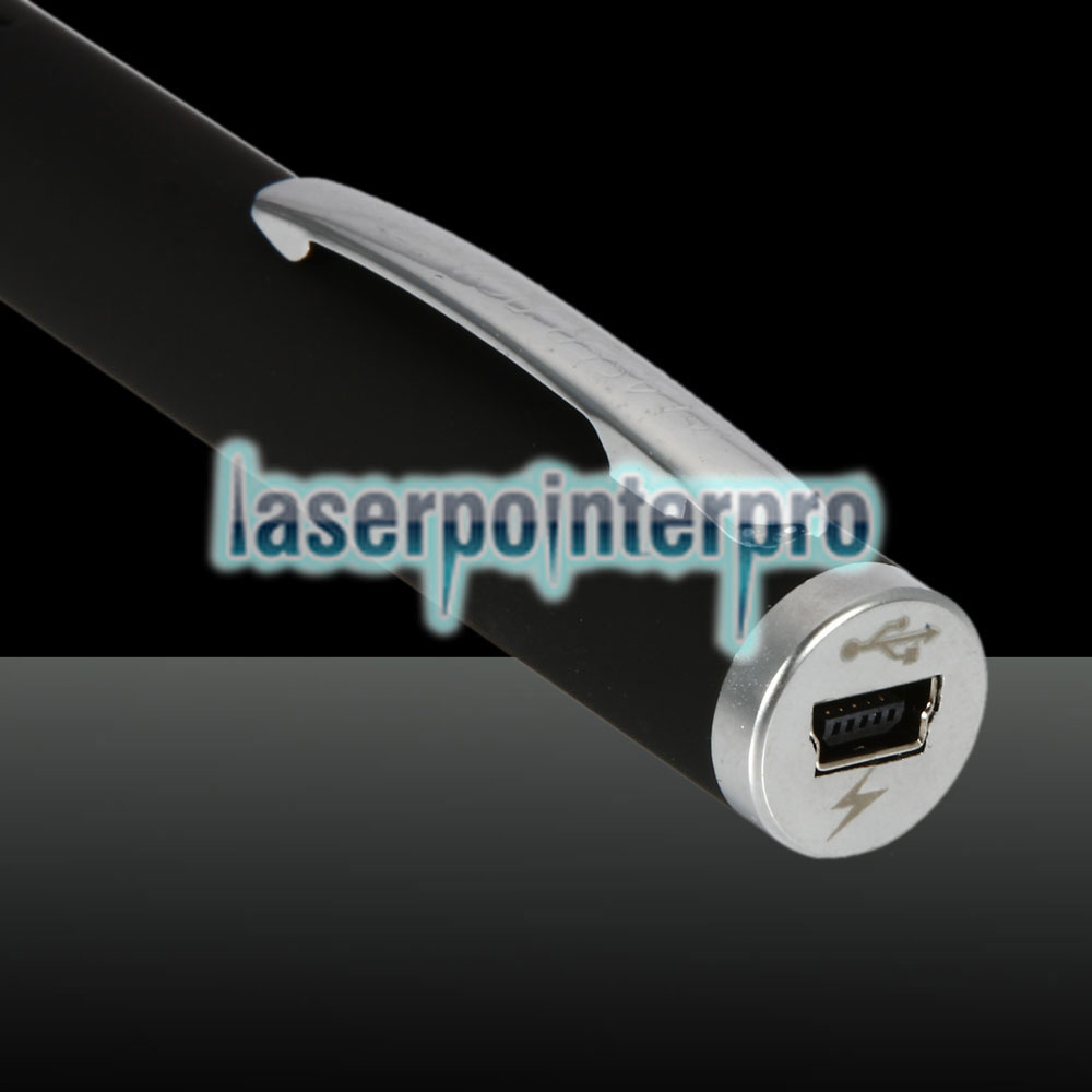 Pointeur laser rechargeable à point unique 1mW 532nm Green Beam Light, noir