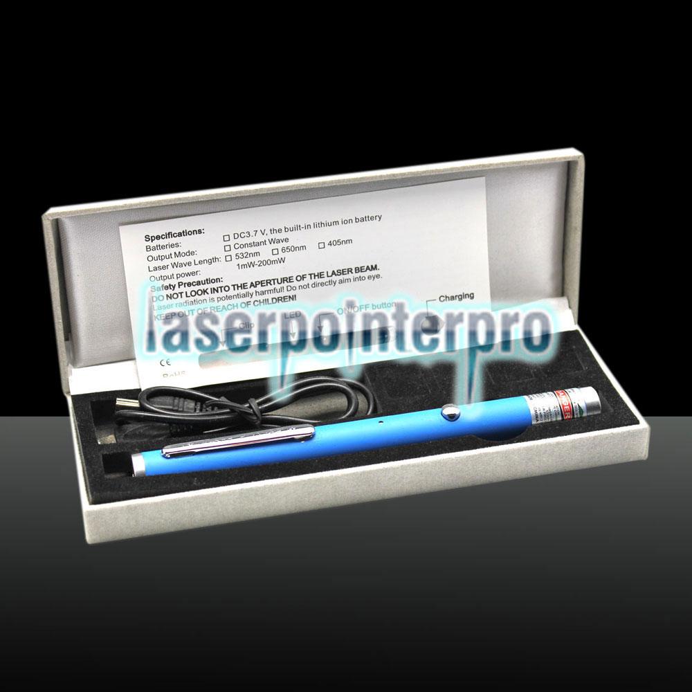 Puntatore laser in rame finemente ricaricabile USB verde 500 mW 532nm Blu